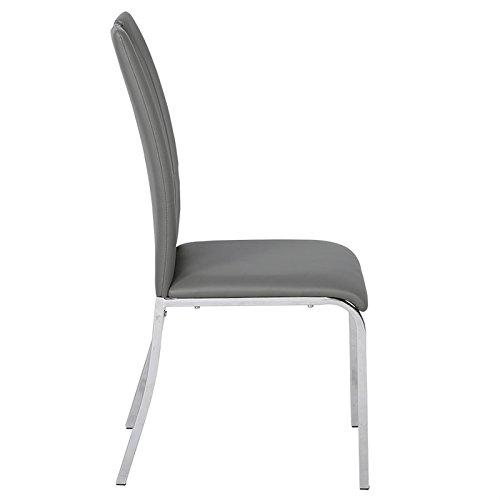 4er Set Esszimmerstuhl Küchenstuhl Essstuhl Essgruppe Sitzgruppe LORETO, 4 Stühle grau