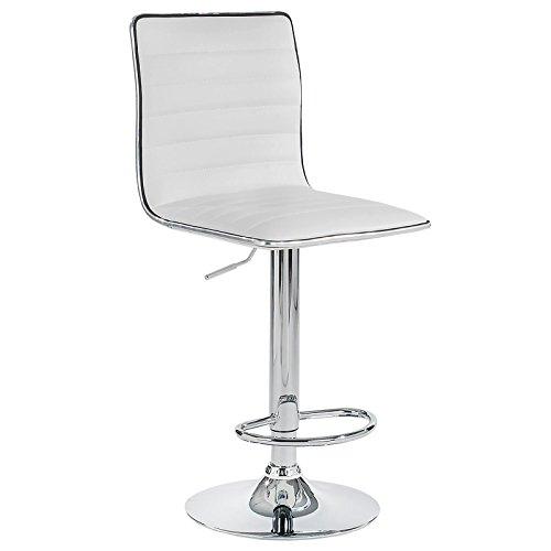 Barhocker Barstuhl Loungehocker Tresenstuhl Tresenhocker Hocker Stuhl ROCA im 2er Pack Kunstleder weiß drehbar mit Lehne