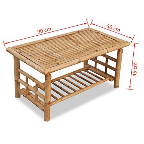 vidaXL Couchtisch Beistelltisch Kaffeetisch Wohnzimmer Garten Bambus 90x50x45 cm