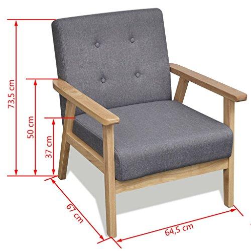 vidaXL Retro Holz Lehnstuhl Relaxsessel Esszimmer Stuhl Sessel Polstersessel Grau