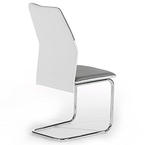 4er Set Schwingstuhl Esszimmerstuhl Freischwinger LEONA, Lederimitat in grau/weiß, Metall verchromt