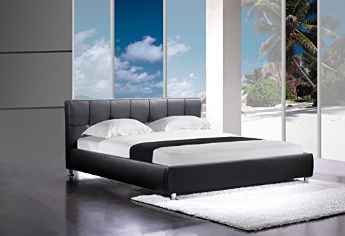 sam polsterbett zarah schwarz 180 x 200 cm bett mit chrom farbenen f en modernes design. Black Bedroom Furniture Sets. Home Design Ideas