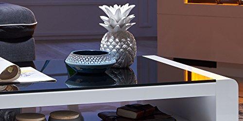 Couchtisch weiß Hochglanz mit Glasplatte Soleil 120x70cm Schwarzglas