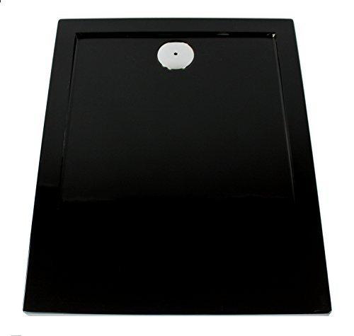 Art of Baan–Extra flache Duschtasse, Duschwanne aus Acryl, Glatt Schwarz; 120x 80x 3,5cm inkl. Ablaufgarnitur