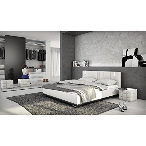 innocent polsterbett aus kunstleder wei 180x200cm mit led und lautsprecher benton mit. Black Bedroom Furniture Sets. Home Design Ideas