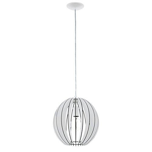 Licht-Trend Rift M / Hängeleuchte mit Holzschirm / Ø 30 cm / weiss