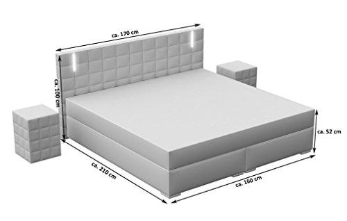 sam led boxspringbett 160x200 cm berlin kunstleder dunkelgrau nosagfederkern 7 zonen h3. Black Bedroom Furniture Sets. Home Design Ideas