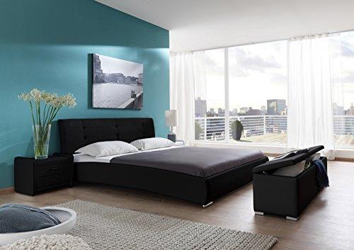 SAM® Polsterbett 120x200 cm Bastia, schwarz, Bett mit gepolstertem, hohen Kopfteil, Chrom-Füße, als Wasserbett verwendbar
