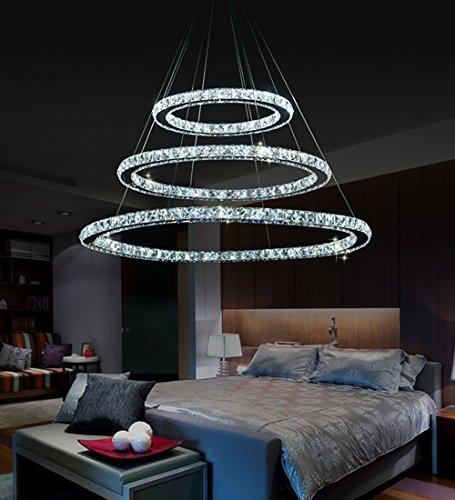 MCTECH® 96W Luxus Modernen Kristall Anhänger Kronleuchter Pendelleuchte Führte Deckenleuchte mit Drei Ring (96W Kaltweiß)