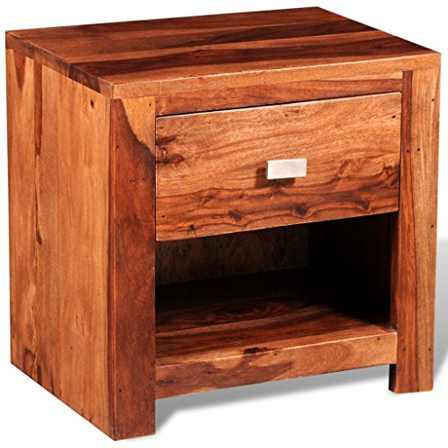Sheesham Nachttisch Massiv Holz Nachtkommode Nachtschrank 1 Schublade Handmade
