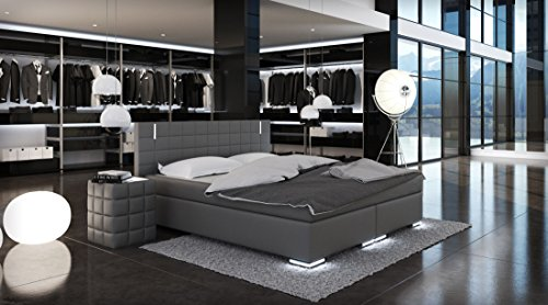 sam led boxspringbett berlin mit samolux bezug in grau led beleuchtung an f en kopfteil. Black Bedroom Furniture Sets. Home Design Ideas