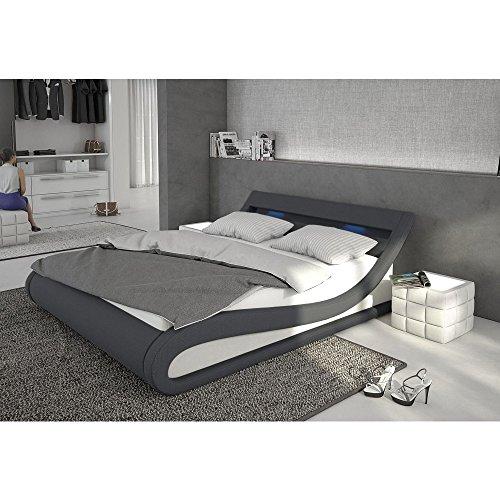 Polster-Bett 140x200 cm dunkelgrau-weiß aus Stoff und Kunstleder Kombi mit LED-Beleuchtung | Bellugia | Das Stoff-Bett ist ein Designer-Bett | Doppel-Betten 140 cm x 200 cm mit Lattenrost in Textil, Made in EU