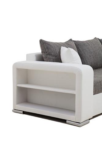 B-famous Houston-2-Pur Polsterecke, Schenkelmaß 226 x 160 cm, Materialmix Kunstleder-Struktur, weiß/grau