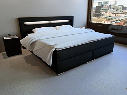 sam led boxspringbett 180x200 cm austin kunstleder schwarz bonellfederkern matratze h3. Black Bedroom Furniture Sets. Home Design Ideas