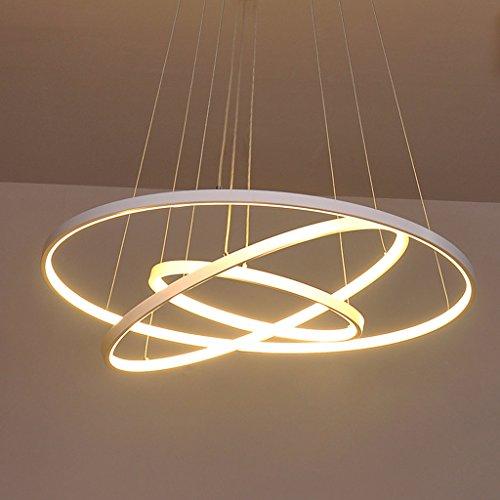 72W LED Pendelleuchte Esstisch Modern Drei Ring Design Lampe Innen Beleuchtung Hängelampe Acryl Kreative Leuchte Einfache Dekoration Kronleuchter für Wohnzimmer Esszimmer Dimmbar Stufenlos Lüster , Weiß