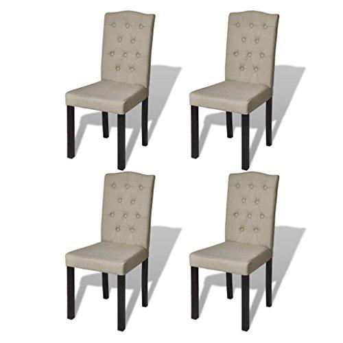 vidaXL 4x Esszimmerstuhl Esszimmer Stuhl Küchenstuhl Stühle Beige 240558
