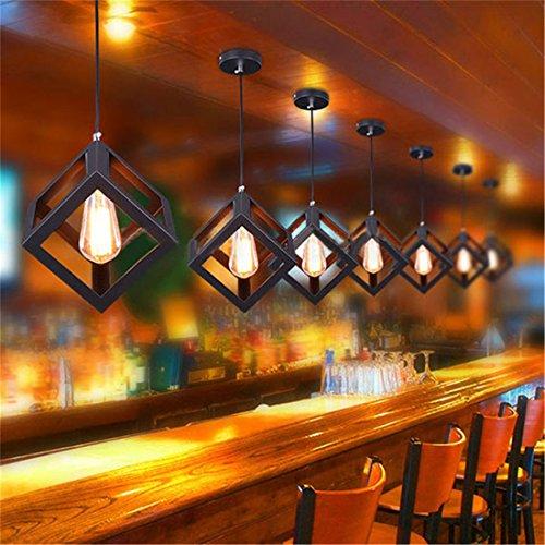 Weare Home Schwarz Quaderat Form Pendelleuchte Hängelampe Modern 110-220V 1 Edison Hängelampe leuchten für Küche Bar Deckenleuchte (ohne Birne)