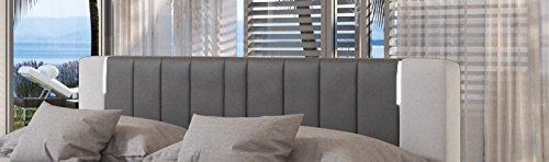 SalesFever® LED-Boxspringbett 180x200 Brooklyn | Grau-Weiß | H3 Bonellfederkern-Matratze + hochwertiger Topper | FSC® 100%
