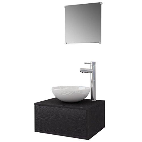 vidaxl 4 tlg badm bel set waschbecken waschtisch wasserhahn spiegel badezimmer schwarz m bel24. Black Bedroom Furniture Sets. Home Design Ideas