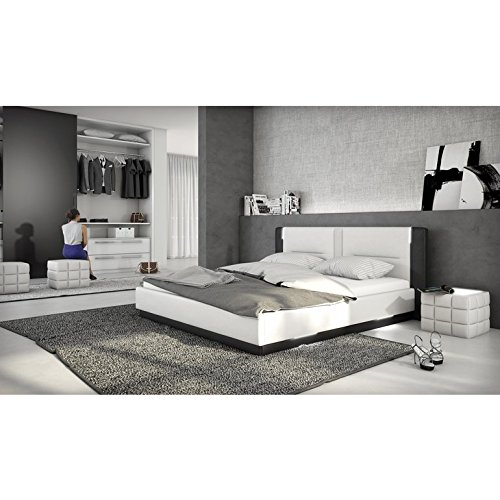 innocent polsterbett aus kunstleder wei schwarz 180x200cm mit led und lautsprecher salero mit. Black Bedroom Furniture Sets. Home Design Ideas