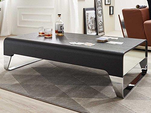 Couchtisch Chrom Holz schwarz Amalfi mit Schublade Spiegelfront Edelstahl 120x70cm