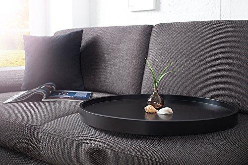 Extravaganter Couchtisch MODUL 60 cm matt schwarz kupfer rund inkl. Tablett Beistelltisch Holztisch