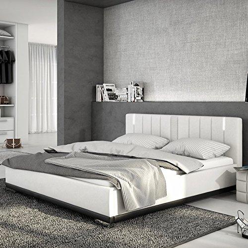 Innocent Polsterbett aus Kunstleder weiß 180x200cm mit LED und Lautsprecher Benton mit Lattenrost