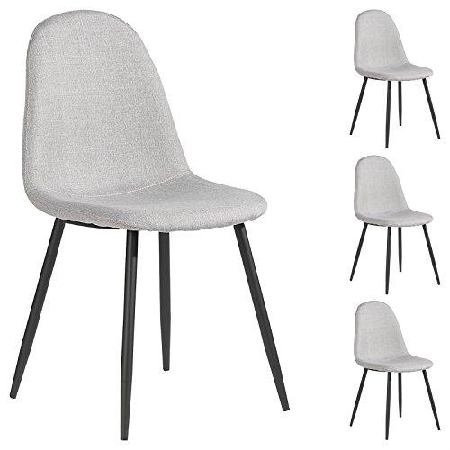 4er Set Esszimmerstuhl Küchenstuhl Stuhlgruppe Essstuhl Stuhl BRIT Stoff grau
