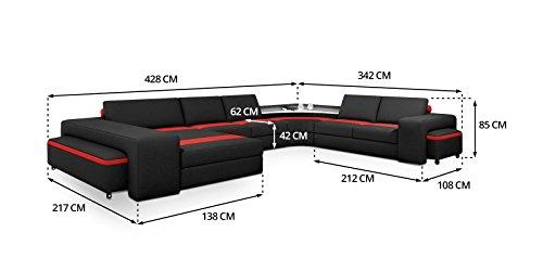 Polsterecke Leon mit Beleuchtung und 2 Hocker Farbwahl Wohnlandschaft Polsterecke Couchgarnitur Echtleder mit Kunstleder (Ausrichtung Normal)