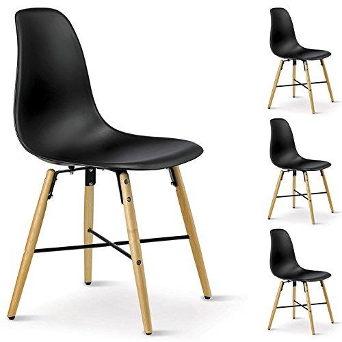 4er SET Esszimmerstuhl Design Retro Konferenzstuhl CICERO, aus Hartschale, in schwarz