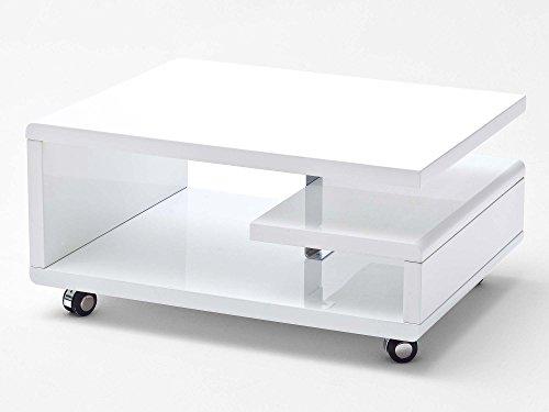 Couchtisch weiß Hochglanz Kira 74x60cm Designer Wohnzimmertisch mit Rollen