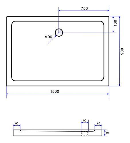50 mm Duschtasse 150 x 90 cm (schwarz)