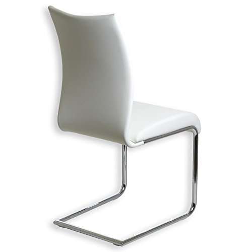 Esszimmerstuhl Schwingstuhl ALADINO, Set mit 4 Stühlen chrom/weiß