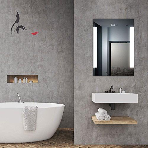 top aktion weihnachten badspiegel led beleuchtet mit integrierter digital uhr augsburg 50x70cm. Black Bedroom Furniture Sets. Home Design Ideas