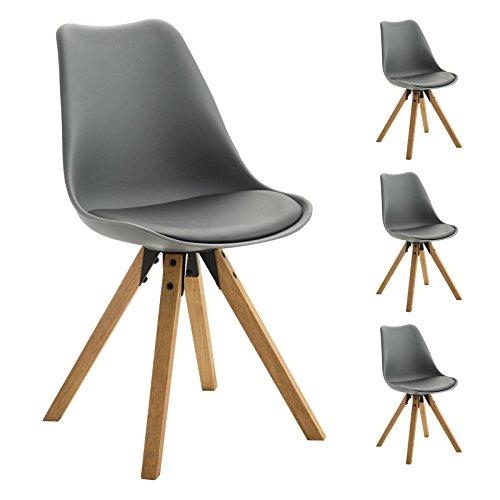 4er Set Esszimmerstuhl Küchenstuhl Stuhlgruppe Essstuhl Stuhl TYSON Kunststoff grau