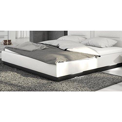 Innocent Polsterbett aus Kunstleder weiß schwarz 180x200cm mit LED und Lautsprecher Salero mit Lattenrost