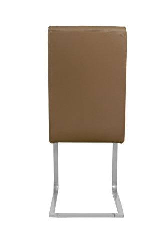 Cavadore Schwingstuhl 4-er Set Roberto / Freischwinger ohne Armlehne in modernem Design / Lederimitat / Stühle cappuccino / 60 x 42 x 101 cm (T x B x H)