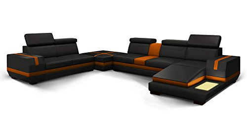 wohnlandschaft xxl leder schwarz orange york teilleder ledersofa polsterecke u form standard. Black Bedroom Furniture Sets. Home Design Ideas