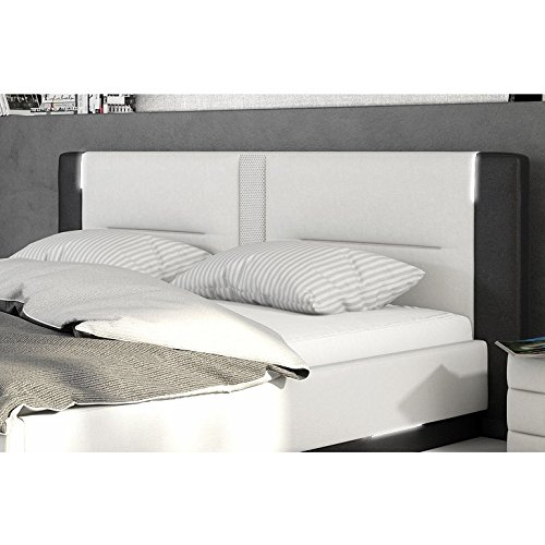 innocent polsterbett aus kunstleder wei schwarz 180x200cm mit led und lautsprecher salero. Black Bedroom Furniture Sets. Home Design Ideas