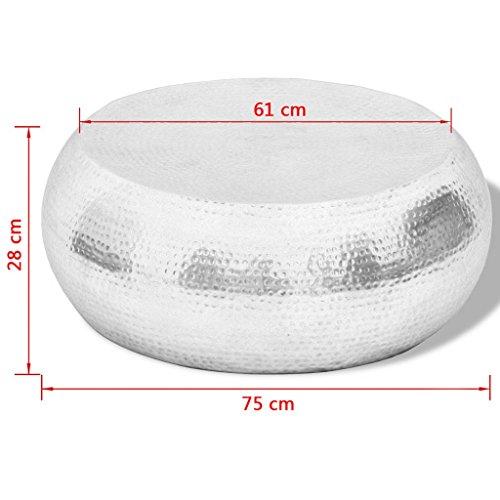 vidaXL Couchtisch Beistelltisch Aluminium Wohnzimmertisch Sofatisch Loungetisch Silber