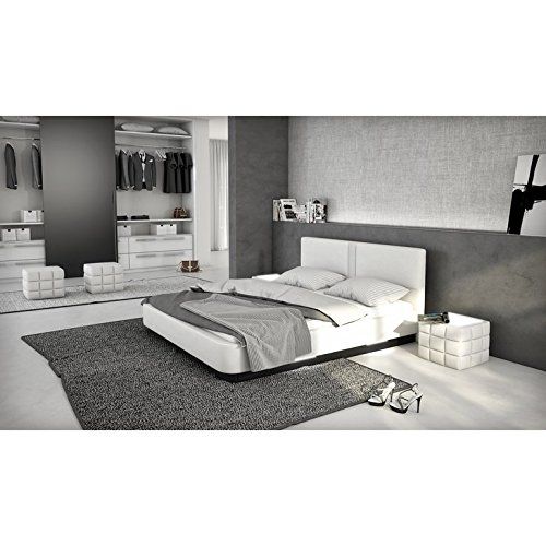 innocent polsterbett aus kunstleder wei 180x200cm mit led und lautsprecher zarina mit. Black Bedroom Furniture Sets. Home Design Ideas