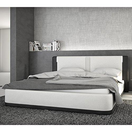 innocent polsterbett aus kunstleder wei schwarz 180x200cm mit led und lautsprecher riffina mit. Black Bedroom Furniture Sets. Home Design Ideas