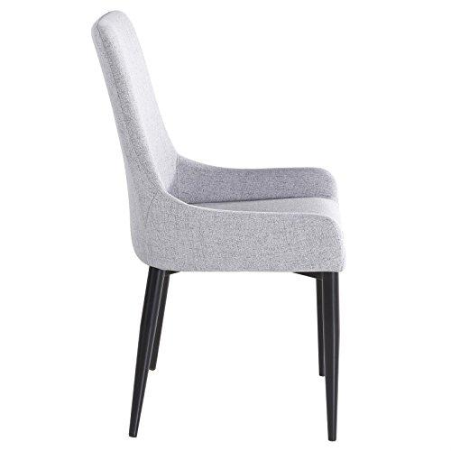 4er Set Esszimmerstuhl Küchenstuhl Stuhlgruppe Essstuhl Stuhl KYLIE Stoff grau