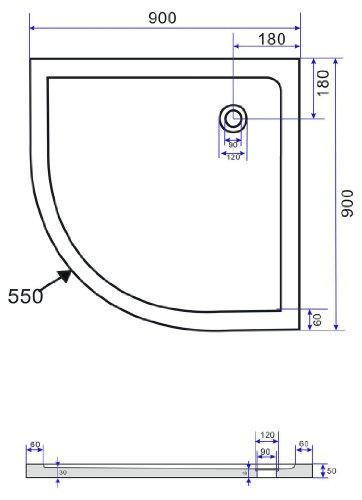50 mm Duschtasse 90 x 90 cm Viertelkreis (schwarz)