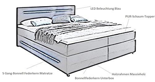 sette notti Boxspringbett mit LED Beleuchtung 180x200 H3, Bonnell-Bonnell, inkl. Topper, Bett Kunstleder Schwarz, Liegefläche 180x200 cm, Bett Lights Classic Vision