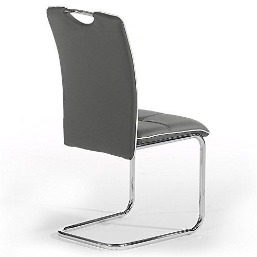 Schwingstuhl Freischwinger Stuhl ELEONORA, in grau mit weißem Rand, Lederimitat
