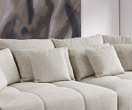 Bigsofa Valeska Grau Beige Couch 310x135 cm mit 12 Kissen Big-Sofa