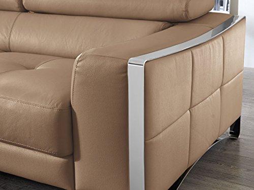 ecksofa cognac leder elsa wohnlandschaft couch chrom zierblende polsterecke verstellbare. Black Bedroom Furniture Sets. Home Design Ideas