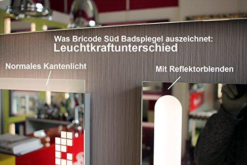 Bricode Süd© Badspiegel Tower II (CQ) in verschiedenen größen mit LED Beleuchtung 75cm x 50cm (breite x höhe) Neutralweiß