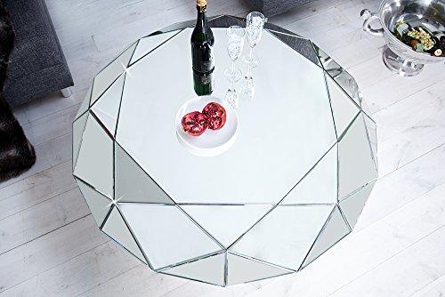 Design Couchtisch DIAMOND Spiegelglas Facetten Design Diamant Glastisch Tisch